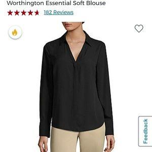 Worthington L, Chiffon V-Neck Button Up